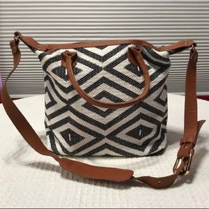 TRIBE ALIVE black&white carryall tote for women